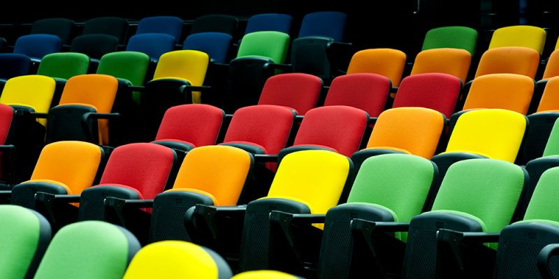 lecture theatre seats in a multitude of colours