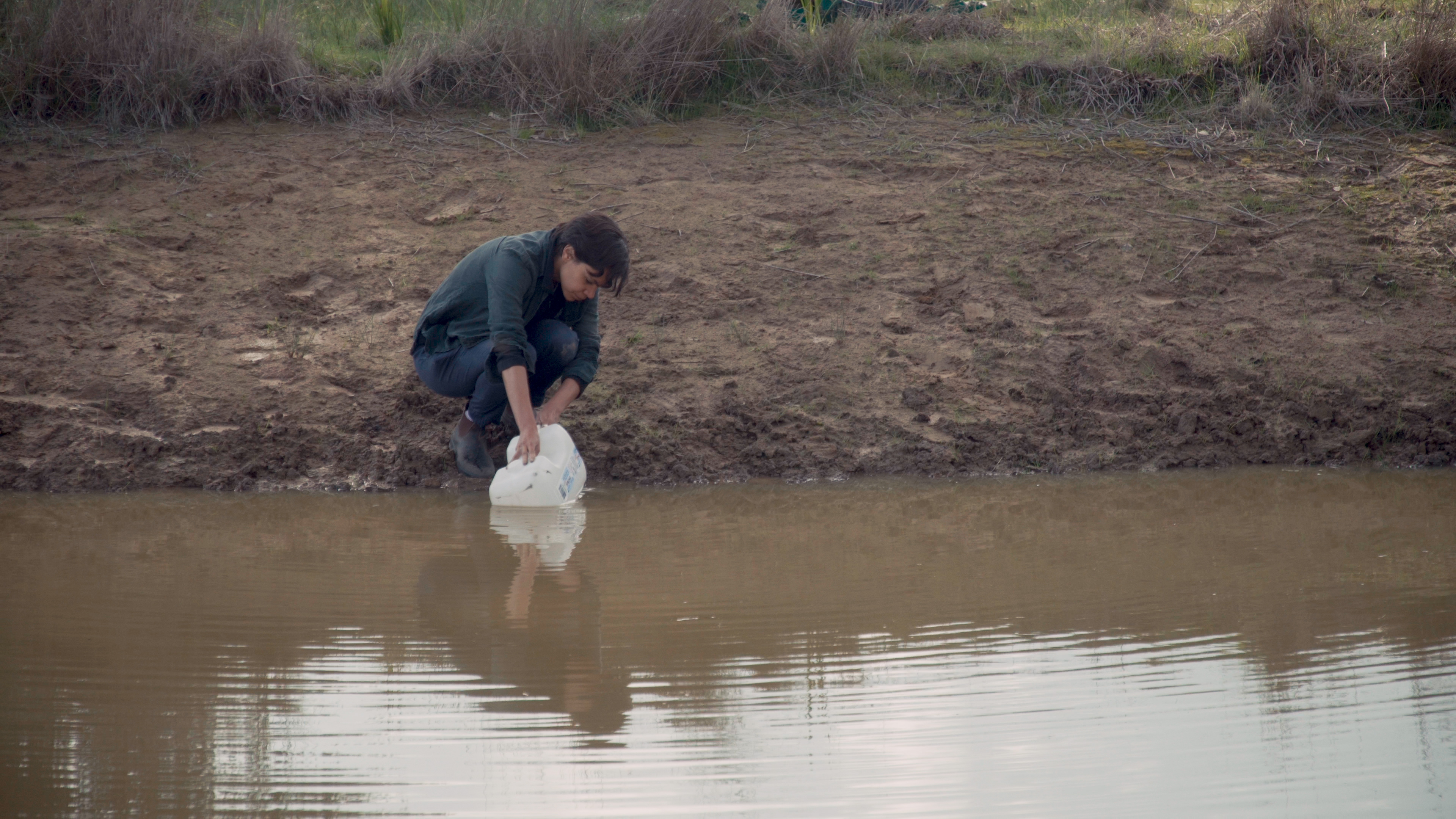 a person collecting water from a muddy dam